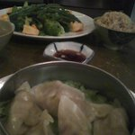 Green wok with Chicken and steamed dumpling... You won't be hungry!!