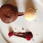 Chocolate fondant with salted caramel ice cream
