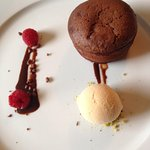 Chocolate fondant with salted caramel ice cream