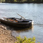 the raft tied up along the Snake River at the end of the float trip