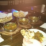 Curry with roti and naan