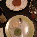Dessert au thé vert et haricots rouges