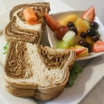 Tuna Salad on Marbled Rye with the fruit option