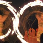 fire dancers at the hotel