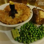 My Chicken & Ham Pie with jacket potato and peas