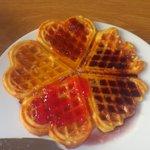Homemade waffles and jams..delish!