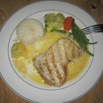 Swordfish in butter sauce with rice & veggies