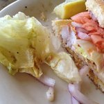 My old darkened lettuce and the small grouper sandwich