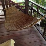 a hammock at the room entrance gives you that tropical feel