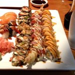Salmon and eel nigiri, fried philly roll, drunken fish roll, white tiger roll. Delicious.