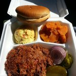 Chopped beef plate. This was enough for TWO, THICKLY stacked Texas buns. Potato salad is great a