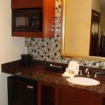 sink, microwave and fridge