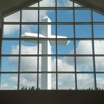 View of Cross Through Visitor's Center Chapel