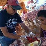 Mr. Mike helping Kye w/ her 1st lobstah!!