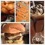 Double burger, chocolate shake, fries