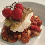 Roast Cod with a Chorizo and Cannellini Bean Stew