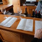 Wine tasting with a list and description of the wines