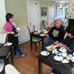 Bernice chatting with her guests at breakfast...