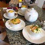 Tea, soup, chicken pot pie, potato salad
