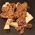 Cheese platter with mostarda and farm style bread