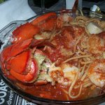 Lobster tail, claw scallops and jumbo shrimp in spicy marinara.