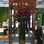 Beautiful flowers in hotel lobby
