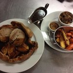 Roast Pork in a giant yorkshire pudding
