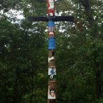 2 of 3 totem poles made by local artisan woodcarvers