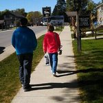 Regleins walking down main drag,looking for something good. Oct. 2013