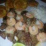 Steak shrimp tostones white rice