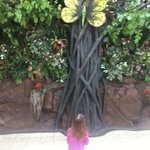 My daughter looking with wonder at the giant butterfly near the entrance of The Rainforest Cafe.