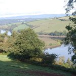 The view on the way down the drive to Sharpham Wine and Cheese