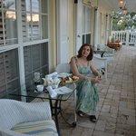 An affternoon tea at the veranda