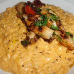 Squid risotto with lobster sauce