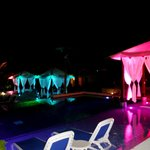 The poolside beds at night