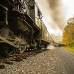 Steam locomotive chugging up to Frostburg