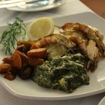 Kingklip and prawn with creamed spinach