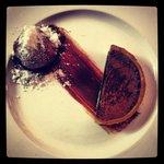 Chocolate Tart with Dark Chocolate Sauce and Gelato