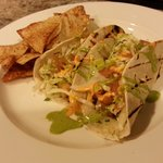 Fish Tacos with Blackened Cod, Cabbage, Mole Verde, Cilantro Lime Aioli, Red Pepper Aioli