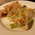 Fish Tacos with Blackened Cod, Cabbage, Mole Verde, Cilantro Lime Aioli, Red Pepper Aioli