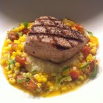 Grilled Tuna with Geechie Boy Grits, Sweet Corn, Farm Heirloom Tomatoes and Parmesan