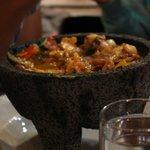 Grilled Salmon & Shrimp Molcajete