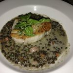 Ono over Lentils with Smoked Salmon in a Crab Sauce