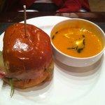 Her dinner - BIG burger, yummy soup.