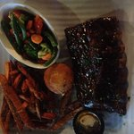 1/2 rack baby-back ribs, sweet potato fries and veggies