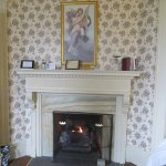 fireplace in music room