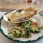 Yummy lunch of spanakopita and salad