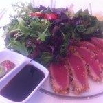 Sashimi tuna and salad, so good!
