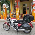My ride in front of their classic Shell station at Gilmore.