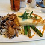 Vegetarian dinner:  Tofu, wild rice, mushrooms, corn and asparagus!  Delicious!!!